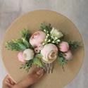 Menyasszonyi virágos hajfésű, hajdísz , Sok-sok pasztel pink bazsarózsa és bimbó, valam...