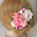 Virágos hajdísz, hajfésű alkalmakra , Pink 50 árnyalata van jelen ebben a hajdíszben h...
