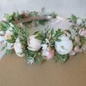 Pasztel virágos fejkoszorú, hajdísz , Sok kis apró fehér, pasztel rózsaszín, barack ...