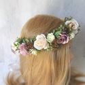 Virágos nude rózsás fejkoszorú, hajdísz, Minőségi prémium selyemvirágokat válogattam e...