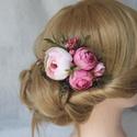 Virágos hajdísz, hajfésű alkalmakra, Minőségi selyemvirágok felhasználásával kés...