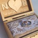 """""""NATURE 2"""" virágos gyűrűtartó esküvőre, fotózásra , Fa ládát kívül-belül matt lakkal kezeltem ter..."""
