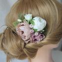 Virágos hajdísz, hajfésű alkalmakra , Esküvő, Táska, Divat & Szépség, Hajdísz, ruhadísz, Ruha, divat, Virágkötés, Nude színű fodros szélű rózsát, pasztel lila és krém színű harmonizáló selyemvirágokat, rezgőt, ham..., Meska