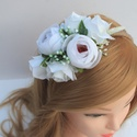 Fehér virágos esküvői hajráf , Egyedi megrendelésre készült ez a mesés hajrá...