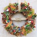 Ajtódísz, kopogtató, őszi koszorú , 25 cm-es szalma koszorú alapot különböző szá...