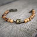 """TIMELESS """"Buddha"""" karkötő, Ékszer, óra, Férfiaknak, Karkötő, Óra, ékszer, kiegészítő, A Timeless sorozat """"Buddha"""" darabja olajfa gyöngyből készül, bronz színű Buddha fejjel, közte..., Meska"""