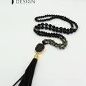 Rojtos nyaklánc fekete ónix, pirit és lávakő gyöngyökkel