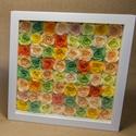Narancsos színhatású virágkeret (papírvirágok képkeretben), Baba-mama-gyerek, Dekoráció, Esküvő, Otthon, lakberendezés, Papírművészet, 25 X 25 cm-es fehér színű, plexi előlapos képkeretben különböző (zöld, limezöld, narancs, mandarin,..., Meska