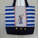 Tengerész táska, Táska, Válltáska, oldaltáska, Matróz stilusban készitettem el ezt a táskát. Az elejét keresztszemes himzés disziti, amelyet vasmac..., Meska