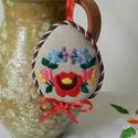 Húsvéti hímzett tojások, Dekoráció, Magyar motívumokkal, Ünnepi dekoráció, Húsvéti apróságok, Kalocsai motívumokból merítettem a textiltojások hímzésmintáit. Natúr szövetre hímeztem, és a stílus..., Meska