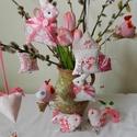 Rózsaszín tojásfa - 10 darabos szett , Dekoráció, Otthon, lakberendezés, Húsvéti apróságok, Ünnepi dekoráció, Rózsaszín textilekből készítettem ezt a 10 darabból álló szettet.  A húsvéti dekoráció fontos eleme ..., Meska