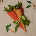 Húsvéti répacsomag, Dekoráció, Ünnepi dekoráció, Húsvéti apróságok, Textilből készült répacsomag 5 db répából tevődik össze, melyeket különböző narancs színű anyagokból..., Meska