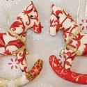Páros hintalovacskák, Dekoráció, Ünnepi dekoráció, Karácsonyi, adventi apróságok, Karácsonyfadísz, Karácsonyi mintás textilekből készítettem ezeket a hintalovakat. A minőségi pamutvászon tün..., Meska