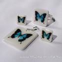 Pillangós gyűrű, fülbevaló, medál , Ékszer, óra, Ékszerszett, Fülbevaló, Gyűrű, Mindenmás, Ékszerkészítés, Ha esetleg más színű pillangót szeretnél, akkor jelezd ....   Az ékszerek antiallergén ékszeralapok..., Meska