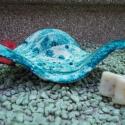 tengerkék szappantartó, Fehér agyagból, saját készítésű mázzal ké...