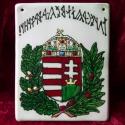 magyar címer, rovásos felirattal, Domború alapon (a képen sajnos nem látszik!)fes...