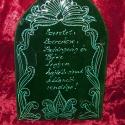 Háziáldás, írókázott, turáni motívummal, Írókázott, fazekas-zöld mázzas házi áldás....