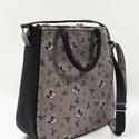 Szürke madaras táska, Női táska dupla funkcióval. Válltáskaként é...