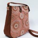 Tégla-narancs táska, Női válltáska meleg tégla barna és narancs sz...