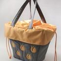 Szürke sárga tulipános biciklis táska, Táska & Tok, Bevásárlás & Shopper táska, Varrás, Kerékpáros kosárba tehető praktikus bevásárlótáska. Vízlepergetős anyagból készül,mérsékelten ellen..., Meska