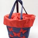 Kék-piros pillangós táska bringásoknak, Táska & Tok, Biciklis & Sporttáska, Varrás, Kerékpáros kosárba tehető praktikus bevásárlótáska. Vízlepergetős anyagból készül,mérsékelten ellen..., Meska