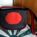Fekete-piros textilbőr táska, Táska, Varrás, Fekete és piros textilbőr kombinációból készült jó tartású válltáska pamut béléssel, két belső zseb..., Meska