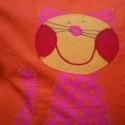Narancs pink pöttyös cicás párna, Baba-mama-gyerek, Otthon, lakberendezés, Gyerekszoba, Lakástextil, Patchwork, foltvarrás, Varrás,  Narancs pamutvászon alapra pink alapon narancssárga pöttyös karton anyagból applikációs technikáva..., Meska