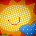 Hétágra...Napocskás párna , Baba-mama-gyerek, Gyerekszoba, Falvédő, Párna, Patchwork, foltvarrás, Narancssárga pamutvászonra applikációs technikával készítettem ezt a mosolygós napocskás párnát. Re..., Meska