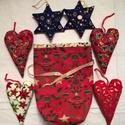 Karácsonyi dísz szett I., Dekoráció, Karácsonyi, adventi apróságok, Ünnepi dekoráció, Karácsonyi dekoráció, Patchwork, foltvarrás, Varrás, Karácsonyi mintás pamutvászon anyagokból készítettem ezeket a díszeket. Lakásdekoráláshoz, fenyődís..., Meska