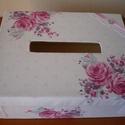 Pénzgyűjtő doboz - romantikus, Esküvő, Esküvői dekoráció, Meghívó, ültetőkártya, köszönőajándék, Mindenmás, Romantikus, rózsás anyaggal bevont pénzgyűjtő doboz.  A sarkában egy kis csipke, szatén szalag és e..., Meska