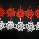 Horgolt karácsonyfadísz, Dekoráció, Ünnepi dekoráció, Karácsonyi, adventi apróságok, Karácsonyfadísz, Kézzel horgolt karácsonyfadísz garnitúra. A garnitúra 5 db fehér és 5 db piros karácsonyfadíszt tart..., Meska