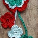 Kokárda virág, Kokárda, 12 cm x 5 cm nagyságú horgolt virág kokárda.  A fonal 100 % pamutból készült. , Meska
