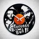 Bud Spencer és Terence Hill - Bakelit falióra, Ékszer, óra, Otthon, lakberendezés, Karóra, óra, Falióra, Újrahasznosított alapanyagból készült termékek, Egyedi tervezésű bakelit falióra. Csendes óraszerkezet kúszó másodpercmutatóval, 1 év garancia az ó..., Meska