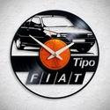 Fiat Tipo - Bakelit falióra, Ékszer, óra, Otthon, lakberendezés, Karóra, óra, Falióra, Újrahasznosított alapanyagból készült termékek, Egyedi tervezésű bakelit falióra. Csendes óraszerkezet kúszó másodpercmutatóval, 1 év garancia az ó..., Meska