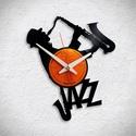 Jazz Saxofon - Bakelit falióra, Ékszer, óra, Otthon, lakberendezés, Karóra, óra, Falióra, Újrahasznosított alapanyagból készült termékek, Egyedi tervezésű bakelit falióra. Csendes óraszerkezet kúszó másodpercmutatóval, 1 év garancia az ó..., Meska