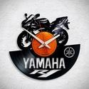 Yamaha R1 - Bakelit falióra, Ékszer, óra, Otthon, lakberendezés, Karóra, óra, Falióra, Újrahasznosított alapanyagból készült termékek, Egyedi tervezésű bakelit falióra. Csendes óraszerkezet kúszó másodpercmutatóval, 1 év garancia az ó..., Meska