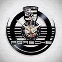 Porsche - Bakelit falióra, Ékszer, óra, Otthon, lakberendezés, Karóra, óra, Falióra, Újrahasznosított alapanyagból készült termékek, Egyedi tervezésű bakelit falióra. Csendes óraszerkezet kúszó másodpercmutatóval, 1 év garancia az ó..., Meska