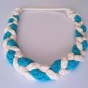 Kék-fehér textil nyaklánc, Ékszer, Nyaklánc, Ékszerkészítés, Égszínkék-fehér textil nyaklánc. Pamut anyagból fonással készült, teljesen fémmentes, hossza 22 cm,..., Meska