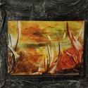 Viaszkép , Művészet, Más művészeti ág, Festett tárgyak, A kép címe:  Nyár Mérete: 20*20 cm Viaszfestéssel készült, a kerete textil., Meska