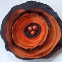 KIÁRUSÍTÁS!!! Fekete-narancs selyem virág, Köszöntelek!   Textilből készítettem ezt a pi...