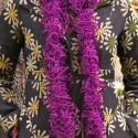 Fodros sál, Ruha, divat, cipő, Kendő, sál, sapka, kesztyű, Sál, Kötés, Téli, őszi, vagy tavaszi, esetleg dekoratív sál.  Lila-ezüst fodros fonálból.  Egyéb színekben is r..., Meska