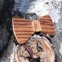 Zebracsíkos fa csokornyakkendő, Esküvő, Férfiaknak, Ruha, divat, cipő, Ing, Famegmunkálás, Varrás, A fotókon látható fából készült csokornyakkendő KÉSZEN VAN, személyes átvétel esetén akár már ma át..., Meska