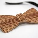Fa csokornyakkendő - zebracsíkos furnérral, Ruha, divat, cipő, Férfiaknak, Férfi ruha, Vőlegényes, Nem hézköznapi, de akár hétköznapokra is:-)) Egy igazán egyedi, különleges darab férfiaknak!  Fából ..., Meska