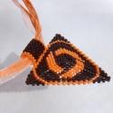 Narancs háromszög,  Narancs és mahagóni színű Japán delica gyön...