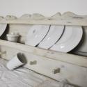 Fűszer-, tányértartró polc vintage, shabby chic stílusban, Vintage, shabby chic stílusú, tömör fa konyhai...