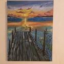 A móló, Dekoráció, Otthon, lakberendezés, Képzőművészet, Festmény, Festészet, A festmény egy magányos mólót ábrázol a naplementében 30x40-es keret nélküli, akril, vászon, Meska