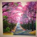 lila tavasz, Dekoráció, Képzőművészet, Otthon, lakberendezés, Festmény, Festészet, Ez a képem tavasszal készült és a cseresznyefa virágzás ihlette.  40x40-es akril, vászon, keret nél..., Meska