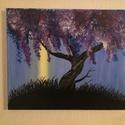 lilaakác, Dekoráció, Képzőművészet, Otthon, lakberendezés, Festmény, Festészet, A festmény egy lilaakácot ábrázol az éjszakai hold sugarában.  30x24-es akril, vászon, keret nélküli, Meska