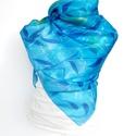 kék batikolt selyemkendő, Ruha, divat, cipő, Kendő, sál, sapka, kesztyű, Sál, Kendő, Saját tervezésű  és festésű 100% hernyóselyem kendő.  Könnyű, elegáns viselet. Bőrbarát..., Meska