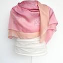 Selyemkendő rózsaszín árnyalatú stilizált rózsás, Ruha, divat, cipő, Kendő, sál, sapka, kesztyű, Kendő, Sál, Kézzel festettem , magam terveztem ezt a stilizált rózsamintás selyemkendőt. A p5-ös selyemné..., Meska